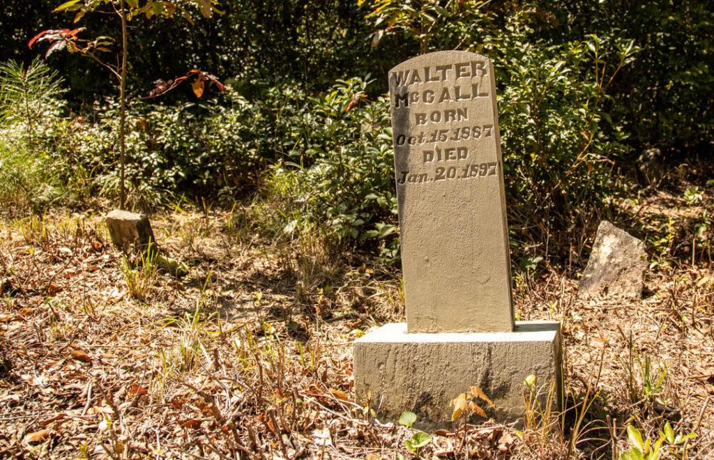Cemetery loop trail headstones
