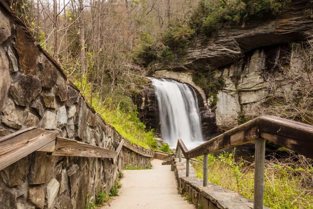 View looking down the walkway that leads to Looking Glass Falls